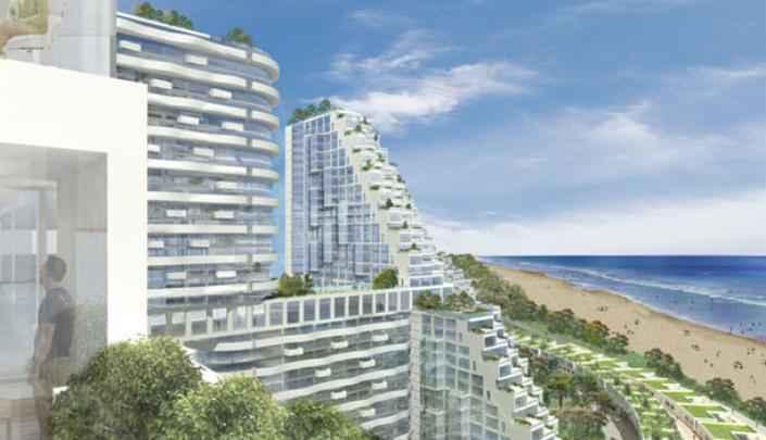 Fachadas dos edif�cios ser�o todas em vidro e n�o bloquear�o vista para o mar - Moshe Safdie/Divulga��o