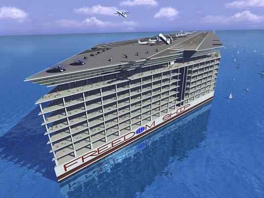 Designers projetam navio gigante que vai abrigar cidade flutuante e ser� o maior do mundo.Com 25 andares e mais de um quil�metro de comprimento, embarca��o criada na Fl�rida ficar� o tempo todo no mar e far� viagens ao redor do planeta, com capacidade para 50 mil residentes - Freedom Ship International/Divulga��o