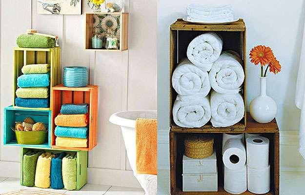 Caixotes de feira reaproveitados podem decorar qualquer lugar da casa  Lugar -> Armario De Banheiro Feito Com Caixote