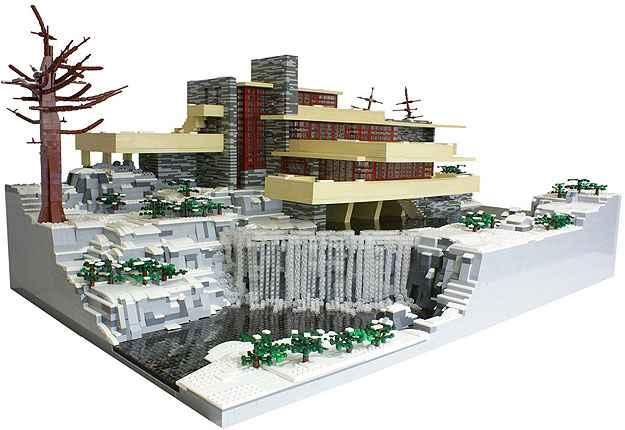 Réplica da 'Fallingwater house', clássico de Frank Lloyd Wright - LEGO/Divulgação