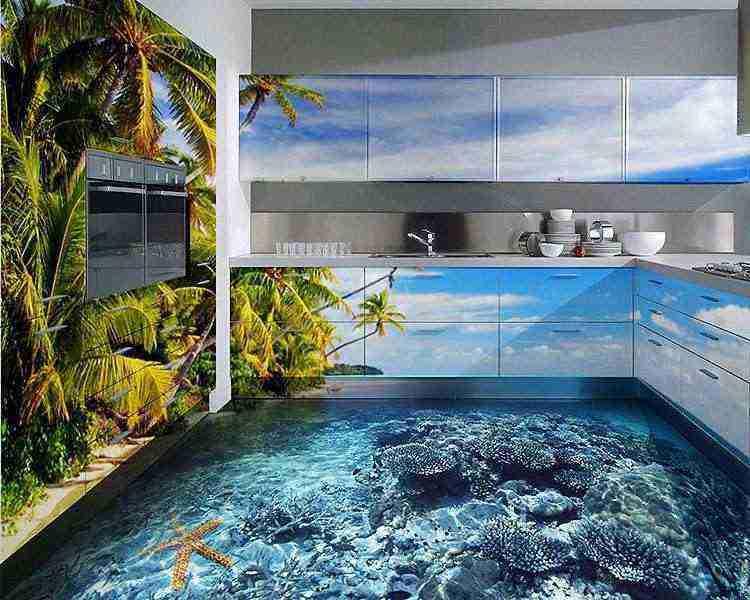 Pisos 3D líquidos transformam interiores