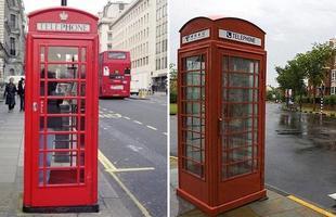 A Thames Town, à direita, em Xangai, é praticamente uma cidade inglesa, com cabines telefônicas vermelhas. À esquerda, Londres