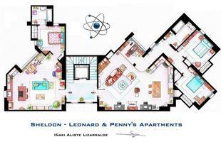 Planta arquitetônica baseada nos apartamentos de Sheldon, Leonard e Penny, do seriado Big Bang - A Teoria