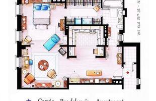 Este é um desenho que mostra como é a morada de Carrie Bradshaw, da série televisiva Sex & the City