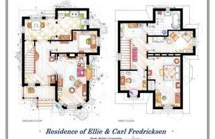 A planta da residência de Ellie & Carl Fredricksen, do  filme 'UP'