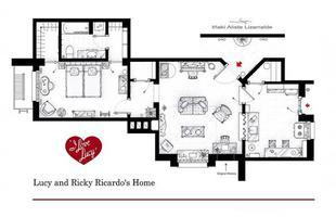 Este desenho mostra a planta da morada de Lucy e Ricky Ricardo, de 'I love Lucy', baseada na primeira temporada da série