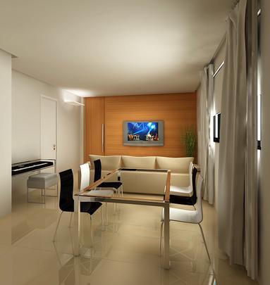 Com apartamentos compactos, tendência do mercado é apostar em soluções criativas para otimizar qualquer ambiente da casa. Mas modelos retráteis, dobráveis, de empilhar ou de encaixe também ajudam a compor com eficiência locais maiores. O escritório Izabel Souki utiliza TV retrátil e móveis sob medida para compor a decoração