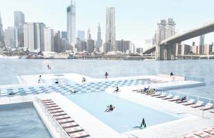 Os designers dos estúdios Family and Play Lab criaram uma piscina flutuante que filtra a água de um rio em Nova York. A proposta pretende proporcionar banho de rio para os nova-iorquinos em água livre de bactérias e demais contaminantes