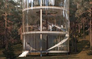 Esta morada no Cazaquistão se desenha como um grande cilindro de vidro com uma árvore por dentro. O volume transparente de quatro andares é configurado rodeando a planta nas montanhas de Almaty