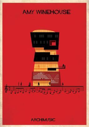 Artista desenha a arquitetura por trás de célebres canções. Na foto, representação de Rehab, de Amy Winehouse