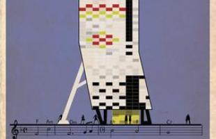 Artista desenha a arquitetura por trás de célebres canções. Na foto, representação de Can't Help Falling In Love, de Elvis Presley