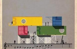 Artista desenha a arquitetura por trás de célebres canções. Na foto, representação de Song 2, de Blur