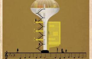 Artista desenha a arquitetura por trás de célebres canções. Na foto, representação de My Funny Valentine, de Chet Baker