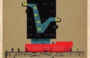 Artista desenha a arquitetura por trás de célebres canções. Na foto, representação de Confirmation, de Charlie Parker