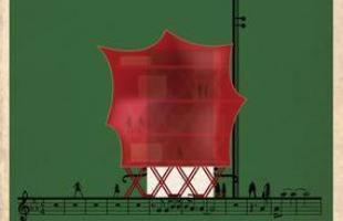 Artista desenha a arquitetura por trás de célebres canções. Na foto, representação de O superman, de Laurie Anderson