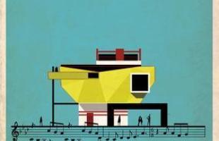 Artista desenha a arquitetura por trás de célebres canções. Na foto, representação de Bohemian Rhapsody, de Freddie Mercury