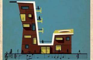 Artista desenha a arquitetura por trás de célebres canções. Na foto, representação de Naima, de John Coltrane