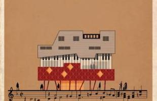 Artista desenha a arquitetura por trás de célebres canções. Na foto, representação de Requiem, de Mozart