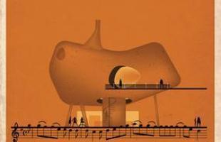 Artista desenha a arquitetura por trás de célebres canções. Na foto, representação de Entre dos Aguas, de Paco de Lucia
