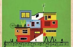 Artista desenha a arquitetura por trás de célebres canções. Na foto, representação de Me gustas Tu/Desaparecido, de Manu Chao