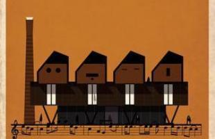 Artista desenha a arquitetura por trás de célebres canções. Na foto, representação de Let it be, dos Beatles