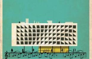 Artista desenha a arquitetura por trás de célebres canções. Na foto, representação de Morning Passages, de Philip Glass