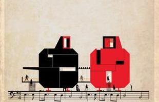 Artista desenha a arquitetura por trás de célebres canções. Na foto, representação de Seven nation army, do The White Stripes