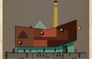 Artista desenha a arquitetura por trás de célebres canções. Na foto, representação de Wish You Were Here, do Pink Floyd