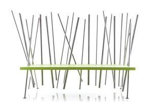 Estúdio Cultivado em Casa, aberto este ano em BH, lança móveis que impactam pelo uso inusitado dos materiais. Na foto, Banco Verdaço