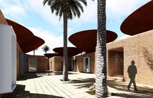 Os prédios com telhados côncavos, em forma de tigela, captam a chuva e resfriam as construções