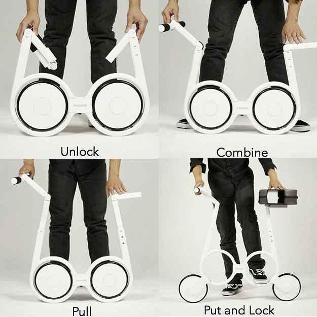 Designers criam bicicleta elétrica que cabe dentro de uma mochila