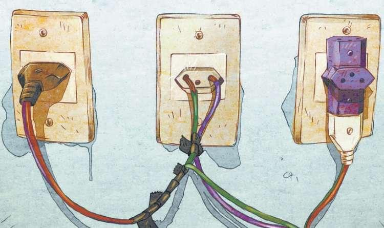 Ligar vários aparelhos juntos no mesmo benjamim representa grande risco