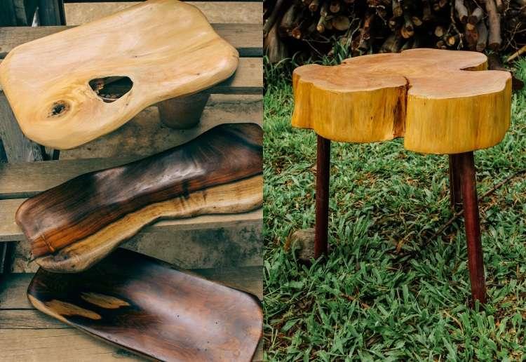 Objetos feitos por reaproveitamento florestal dão ar de rusticidade e aconchego ao ambiente